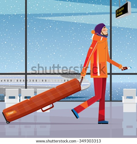 Man walks through the airport with a snowboard - sport tourism concept. Vector illustration Stock photo ©