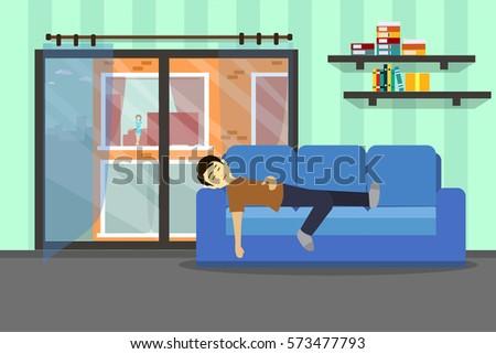 man was sleeping on sofa with