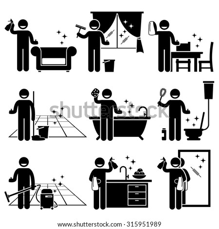 man washing and cleaning house