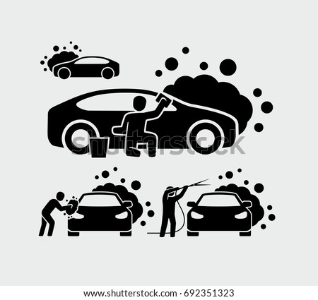 Man washing car vector icons