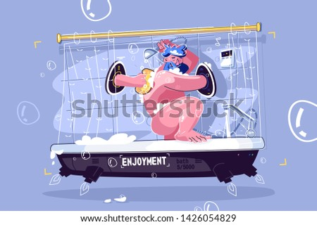 Man washing in fantastic shower vector illustration. Cartoon smiling guy relaxing in douche wit black hole portal flat style concept. Bath with inscription enjoyment