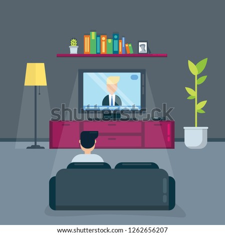 Man watches tv in the evening in living room sitting on a couch. Cartoon flat vector illustration.