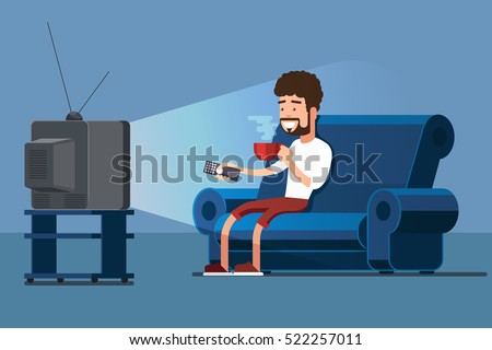 Man watches TV on sofa with coffee cup vector illustration. Watching TV and drink coffee, relax at home on couch