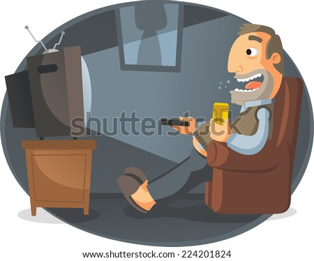 man watching tv and drinking
