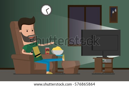 Man watching TV and drinking beer, vector illustration. Lazy slacker in the chair watch television
