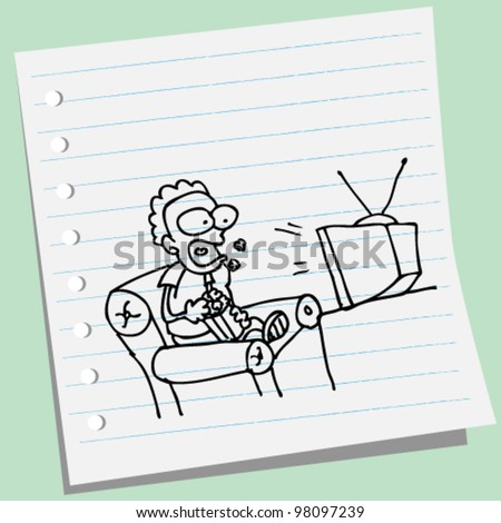 man watching tv doodle illustration