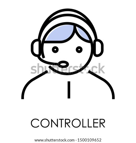 Man wearing headset, controller or client services and communication isolated icon vector. Call center service worker in headphones with microphone. Delivery and shipping operator, helpline or hotline