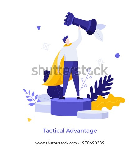 Man wearing superhero's cape and holding rook chess piece. Concept of tactical advantage, successful entrepreneurship tactics or strategy, superiority in business. Modern flat vector illustration. Сток-фото ©