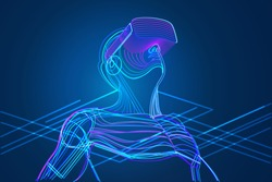 Man wearing virtual reality glasses. Abstract vr world with neon lines. Vector illustration