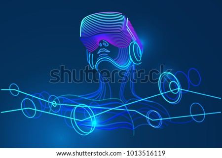 Man wearing virtual reality glasses. Amazing experience in abstract vr world. Vector illustration