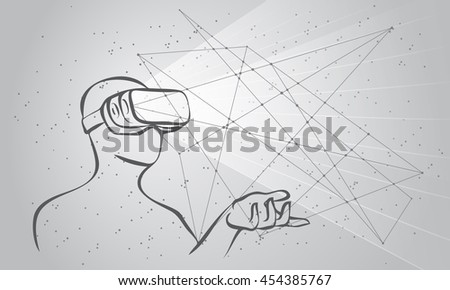 Man wearing virtual reality goggles. Monochrome high-tech illustration on a black background with lines and dots.