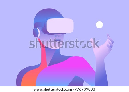 Man wearing virtual reality headset and looking at abstract sphere. Colorful vr world. Vector illustration