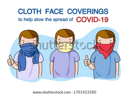 Man wearing washable fabric face mask or cloth face covering to help slow the spread of viruses and protect themself from COVID-19. They are made from scarf, cotton, handkerchief. Vector illustration