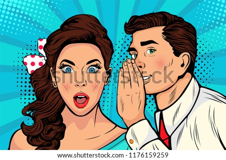 Man whispering gossip or secret to his girlfriend or wife. Colorful vector illustration in pop art retro comic style.