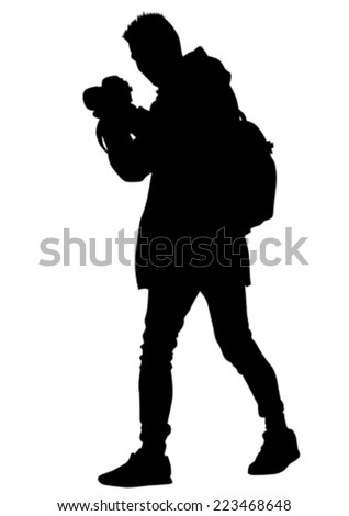 man with a camera on white