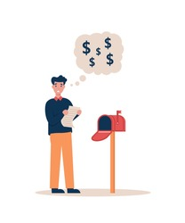 Man with a check for payment stands near a home mailbox. Guy holding a big letter for high utility bills. Flat vector cartoon modern illustration.