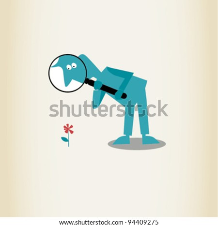 man with a magnifying glass - stock vector