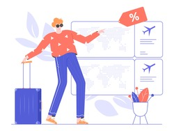 Man with a suitcase stands near plane tickets. Promotions and discounts. Bargain. Airplane travel concept. Vector flat illustration.