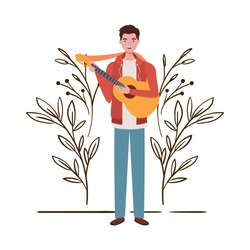 man with acoustic guitar and branches and leaves in the background