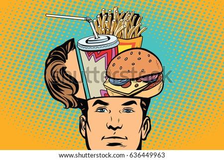 Man with an open head fast food Сток-фото ©