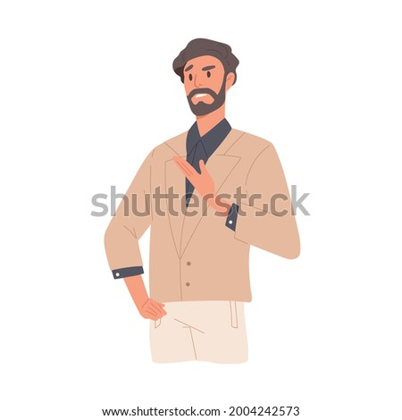 Man with annoyed and indignant face expression due to misunderstanding. Arrogant irritated businessman expressing negative emotion of neglect and mistrust. Flat vector illustration isolated on white Stock photo ©