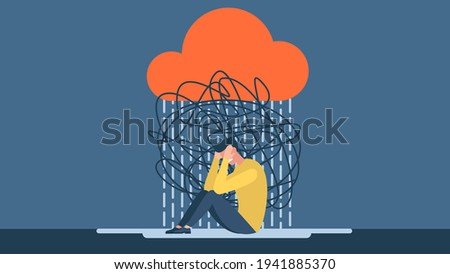 Man with anxiety touch head surrounded by think. Mental disorder and chaos in consciousness. Frustrated guy with nervous problem feel anxiety and confusion of thoughts vector flat illustration.  Photo stock ©