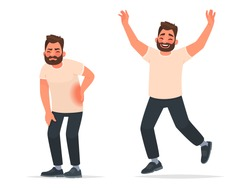 Man with back pain and after recovering from an illness. Happy man in a jump enjoys the freedom of movement. Backache. Vector illustration in cartoon style