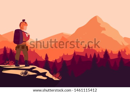 Man with backpack and go pro, traveller or explorer standing on top of mountain and photo the gradient land. Concept of discovery, exploration, hiking, adventure tourism and travel.