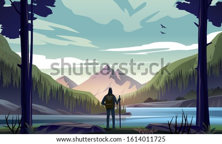 Man with backpack, traveler or explorer standing on the river bank and looking at valley. Concept of discovery, exploration, hiking, adventure tourism and travel. Flat vector nature landscape. Foto stock ©