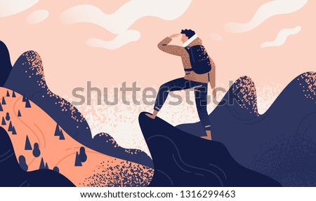 Man with backpack, traveller or explorer standing on top of mountain or cliff and looking on valley. Concept of discovery, exploration, hiking, adventure tourism and travel. Flat vector illustration. #1316299463