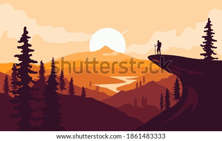 Man with backpack, traveller or explorer standing on top of mountain or cliff and looking on valley. Mountains landscape. Traveling or hiking or exploring or tourism concept. Vector illustration.