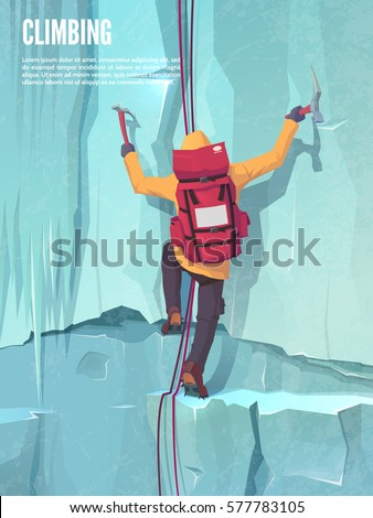 man with bag on the ice rock