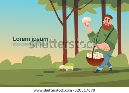 man with basket picking