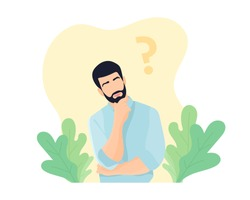 Man with beard thinking about something. Question mark and leaves decoration. Planning concept. Thoughtful man. Man in doubt. Pale blue shirt. Decision making concept - Flat vector illustration.