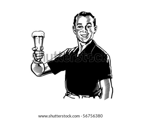 Man With Beer - Retro Clip Art