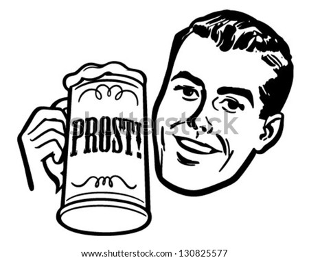 Man With Beer Stein - Retro Clip Art Illustration