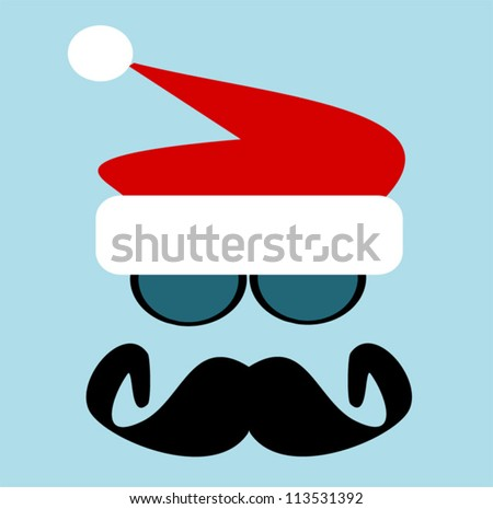 man with big black mustache and sunglasses wearing santa hat