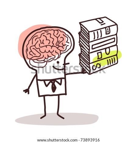 man with big brain and books