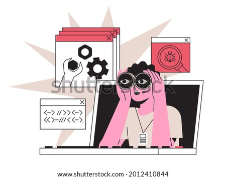 Man with binocular fix distantly computer or laptop, deleting malware, virus, spam, bug or system error. Distant system administrator at work fixing program code or searching or preventing data leak.