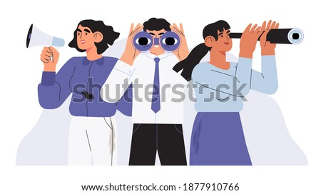 Man with binoculars, women with loudspeaker and spy glass. Concept employee, job and candidate search. People or office employees stand together and looking for new business or career opportunities.