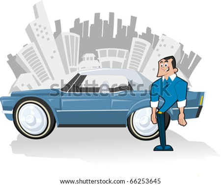 Man with Blue convertible car and city on the background