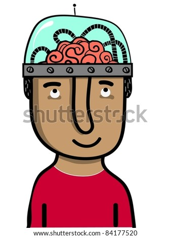 man with brain in glass helmet