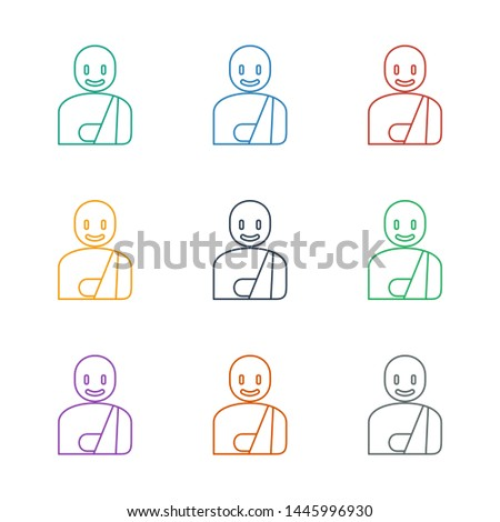man with broken arm icon white background. Editable line man with broken arm icon from medicine. Trendy man with broken arm icon for web and mobile.