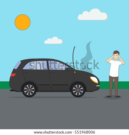 man with broken car car