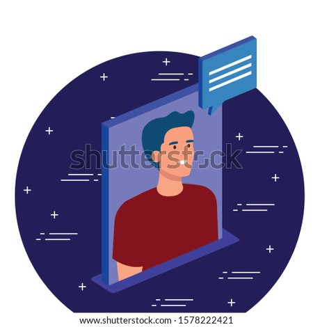 Man with bubble design, Digital technology communication social media internet and web theme Vector illustration