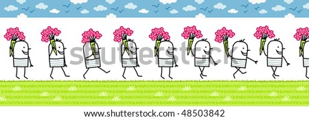 man with bunch of flowers -walking cartoon character for animated sprite - stock vector