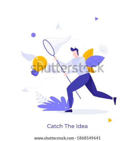 Man with butterfly net catching flying winged lightbulb. Concept of chasing or pursuing innovative business idea, creative thinking, brainstorm. Modern flat vector illustration for banner, poster. Foto stock ©