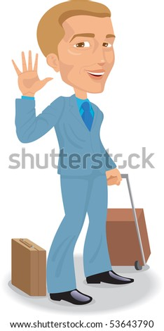 Man With Case Is Greeting Someone Stock Vector ...