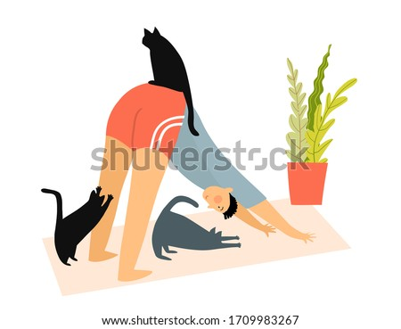 Man with cats doing yoga downward-facing dog pose (asana) at home, Humorous fitness motivation cartoon, character doing exercise indoors on yoga mat, cats watching. Vector funny illustration. Сток-фото ©