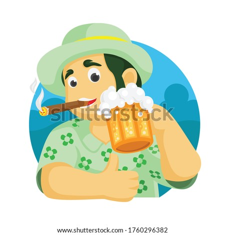 man with cigarette and beer on